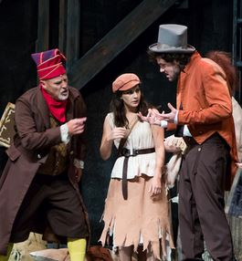 John George Campbell as Thenardier, Kayla Parker as eponine, and Justin Duchi as Montparnasse