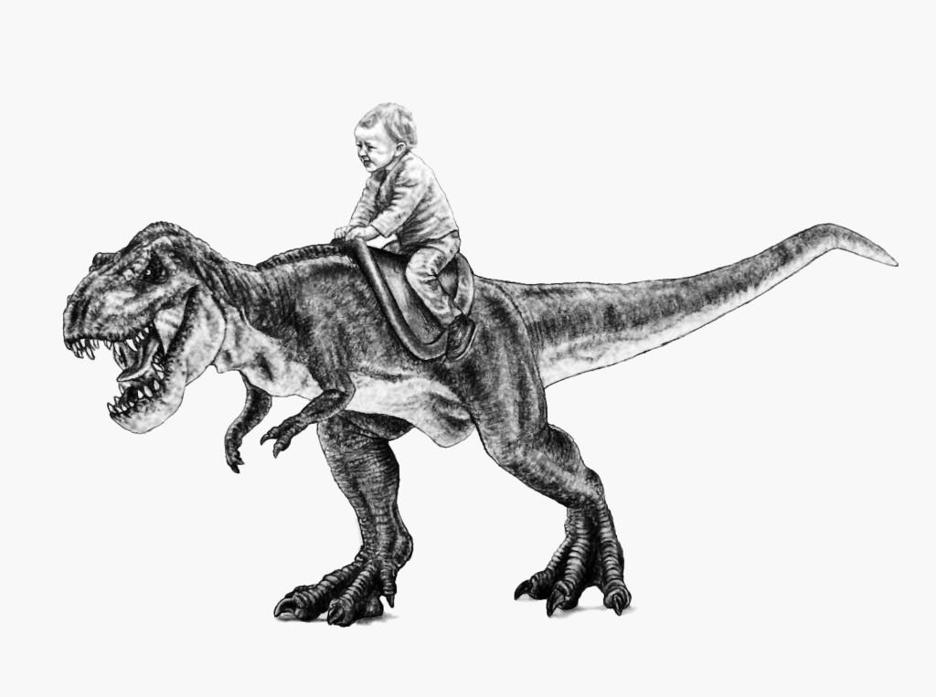 Child riding a dinosaur drawing by artist john gordon