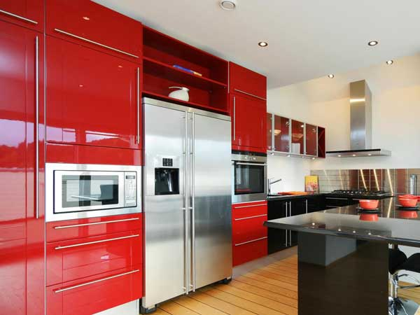 Crimson Red color kitchen