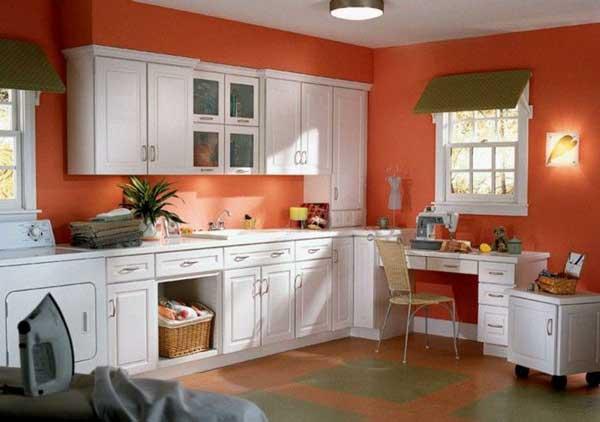 peach color kitchen