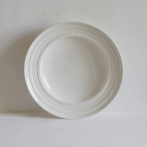 Classical Porcelain Impressed Line Shallow Bowl