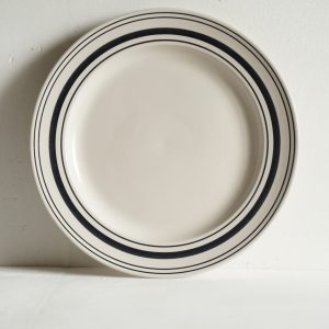 Black Linen Stripe Large Dinner Plate 30cm