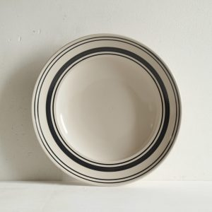 Black Linen Stripe Shallow Bowl