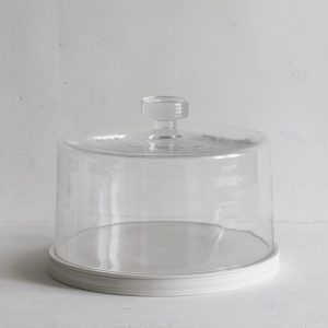 Classical Porcelain Serving Plate Platform with Glass Dome, 28cm