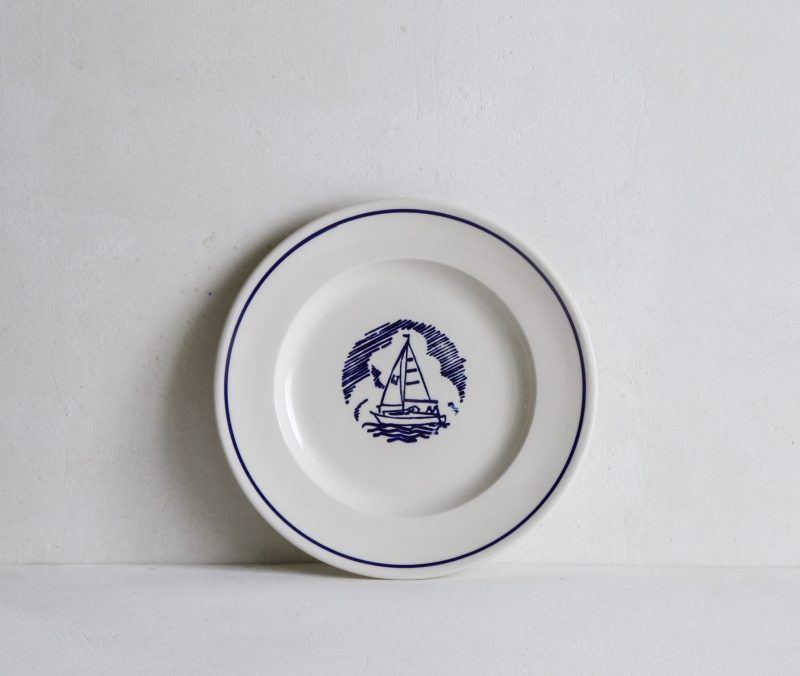 Side Plate with Sailing Boat illustration