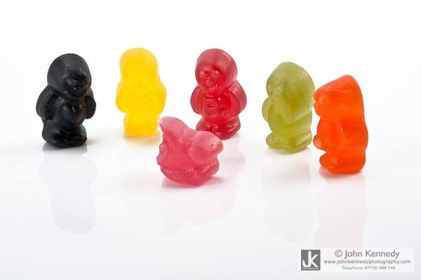 A photograph of Jelly Baby sweets arranged to look like a crime scene.
