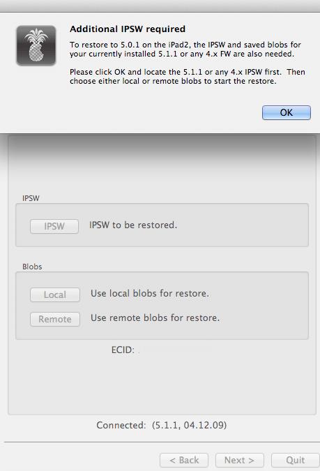 redsn0w downgrade screen