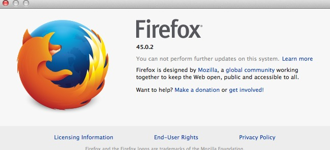 Firefox ends support for OSX 10.7