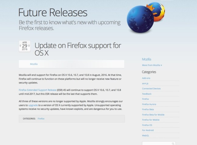 Firefox Ending support for 10.7 early and extended support release