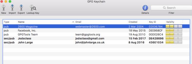 My GPG Keychain.