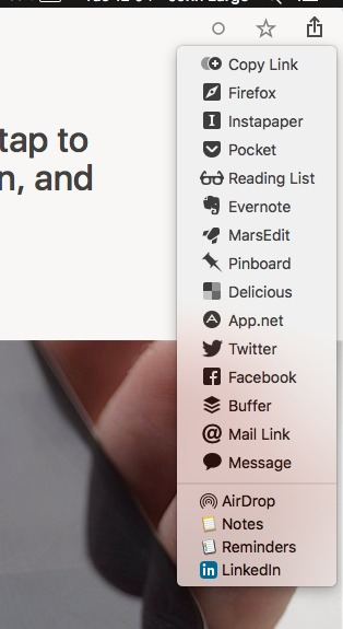 Reeder sharing options are extensive