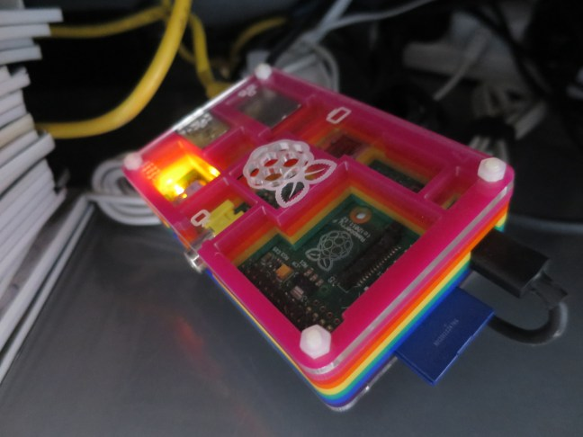 Raspberry Pi 1 Model B from 2012 running pihole & dnscrypt