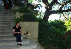 Karol on the steps of the Jacobsen residence. Photo by Mark Picascio; all rights reserved.