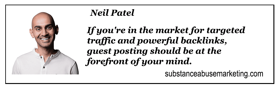 A Banner Image of Neil Patel explaining why guest posting is and effective use of link building as an SEO tool