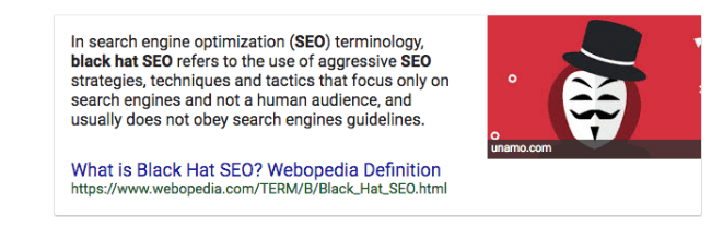 An image of a Google snippet about black hat SEO