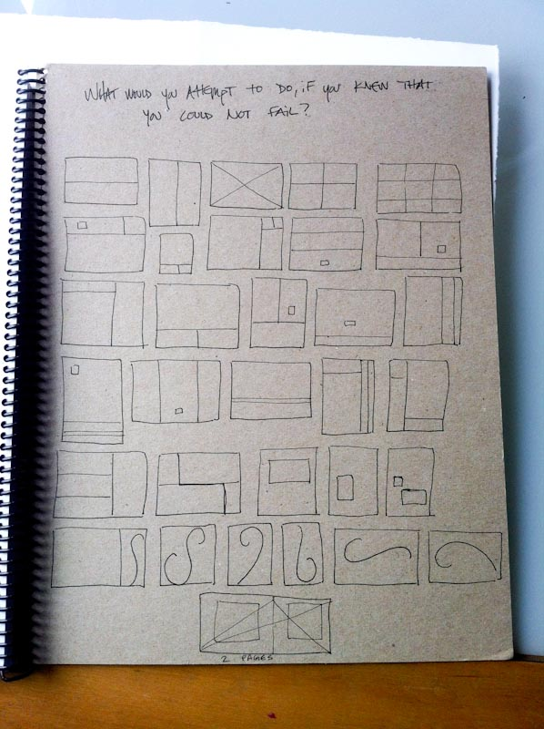 J. Panter draws these composition ideas and prompts into the back of her journal to inspire possible page layouts.