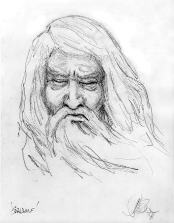 1981. Pencil Drawing Wizard Gandalf
