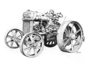 1989. Pencil Drawing Tractor Cross