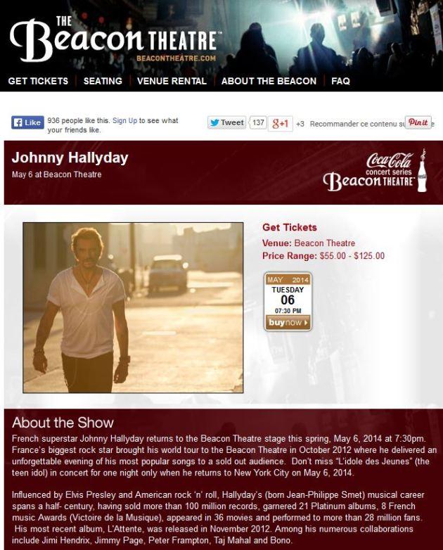 Johnny Hallyday Beacon Theatre New York