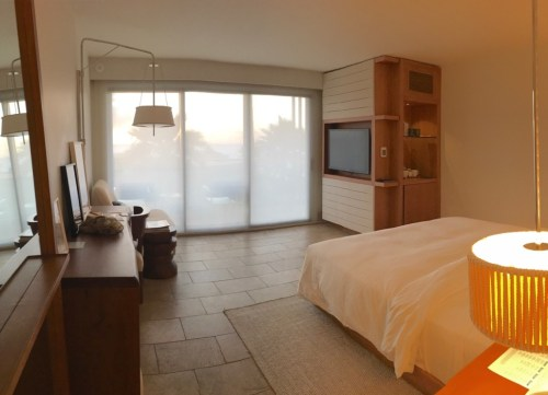 Standard sized room with sheer curtain lowered
