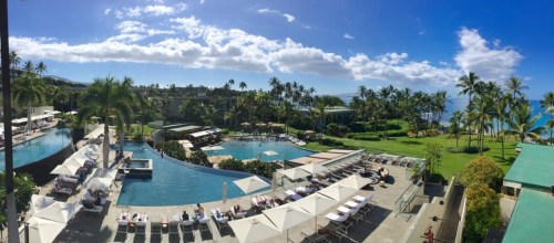 Infinity pools and lower lagoon pool, as seen from our suite