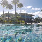 Swimming in one of the infinity pools