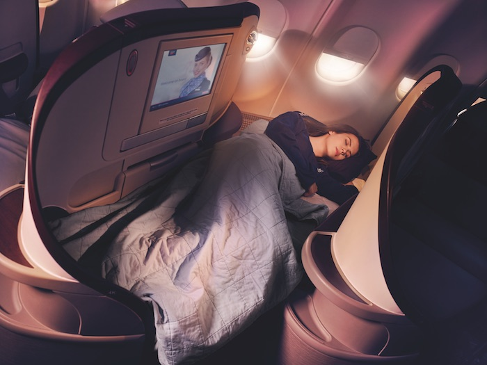 Air Serbia Business Class, which features 18 fully lie-flat seats NYC-BEL (Credit: Air Serbia)