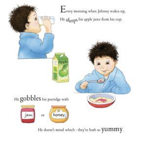 Porridge apple juice jam honey