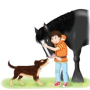 Boy with horse and dog