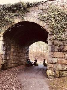 Eating under a bridge