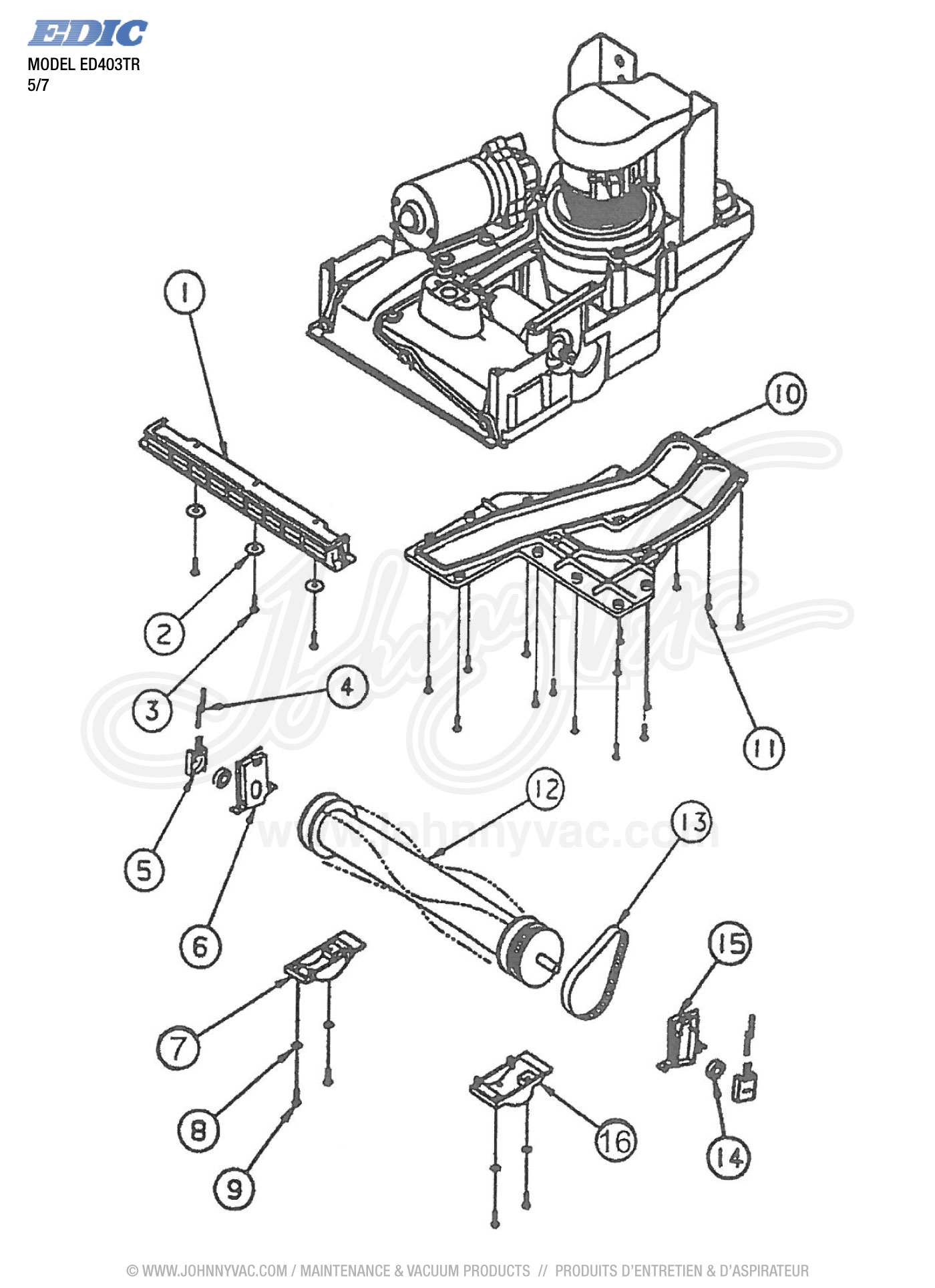 Vacuum schematic exploded view for ed403tr model s ed403tr