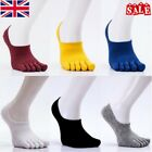 UK Men's Sports Ankle Socks Cotton Breathe Five Toe Finger Low Cut Boat Socks