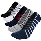 Mens No Show Toe Socks Cotton Five Finger Running Low Cut Ankle Boat Liner...