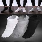 3 Pairs Men's Cotton Toe Five Finger Socks Ankle Sports Breathable Low Cut Sock~