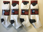 12 Pairs Men Cotton White Low Cut Sport Socks Black Heel Toe NEW
