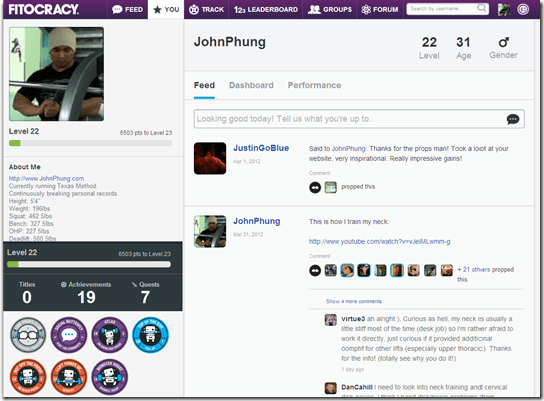 Fitocracy   JohnPhung s Profile