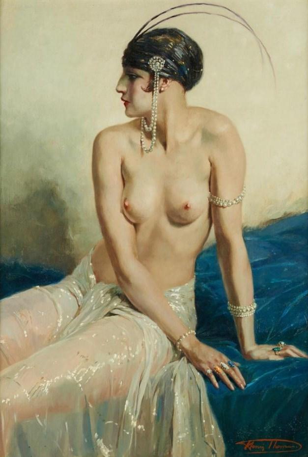 Henri Thomas, Élégante au buste dénude, 1878-1972