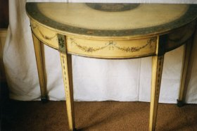 Restored Georgian painted demi lune console table