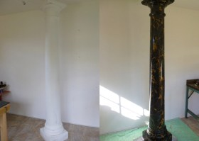 Simulated Portoro Marble column before and after restoration