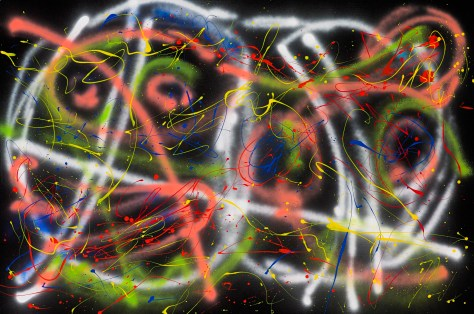 "No. 2267. ""Night Clubbing"" Original Mixed Acrylic on 40""h x 60""w 1.5"" Blick Quality Stretched Canvas."