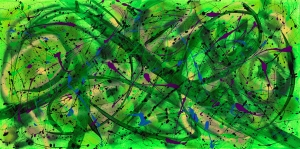 """No 2283.  """"Serenity Gardens"""" Original Mixed Acrylic on 24""""h x 48""""w Premium Quality Stretched Canvas."""