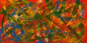 """No. 2284.  """"Tropical Beaches""""  Original Mixed Acrylic on 24""""h x 48""""w x 1.5"""" Premium Quality Stretched Canvas"""
