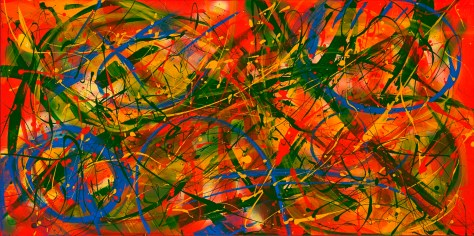 "No. 2284. ""Tropical Beaches"" Original Mixed Acrylic on 24""h x 48""w x 1.5"" Blick Premium Quality Stretched Canvas."