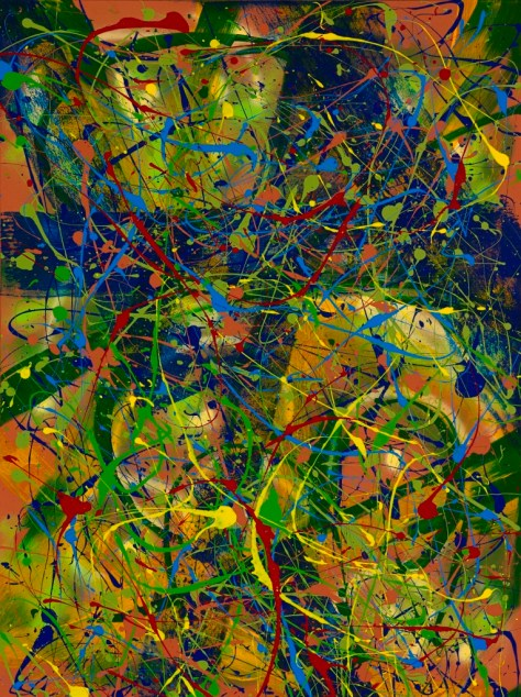 """No. 2285. On the Path to Wellness Series - Sharing Love: """"Paradise Found"""" Diptych Panel 1. Original acrylic on 36""""h x 48""""w Premium Stretched Canvas. No. 2285 & No. 2286 Sold only as a set for $5,500."""