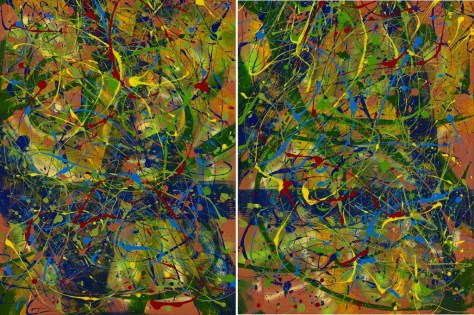 "No. 2285 & No. 2286. On the Path to Wellness Series - Sharing Love: ""Paradise Found"" as Diptych 48″h x 72″w. Original acrylic on two 36″ x 48″ Premium Stretched Canvases. Sold only as a set for $5,500."