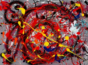 "No. 2246. ""Ode to Miro""  Original Mixed Acrylic on 30""h x 40""w Stretched Canvas: $3,400."