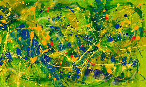"""No. 2291. """"On the Healing Path"""" - Panel 3. Original Mixed Acrylic on 36""""h x 60""""w Premium Quality Stretched Canvas.  Sold as a triptych with No. 2289 and No. 2290:  $11,400. Artist hand embellished giclees of this single panel are available by custom order at approximately 30% of the original."""