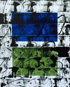 """No. 2354. Film Strip Series: """"View Points: Counter Points"""". $275. Original Mixed Acrylic on stretched canvas 16"""" x 20"""" x .5""""."""