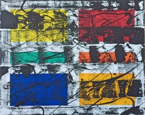 """No. 2355. Film Strip Series: """"View Points: On the Same Issue"""". $275. Original Mixed Acrylic on stretched canvas 16"""" x 20"""" x .5""""."""