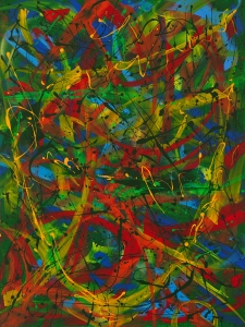 "No. 2298. ""Empowerment in Green"".  Original Mixed Acrylic on 48""h x 36""w Premium Quality Stretched Canvas: $4,000."